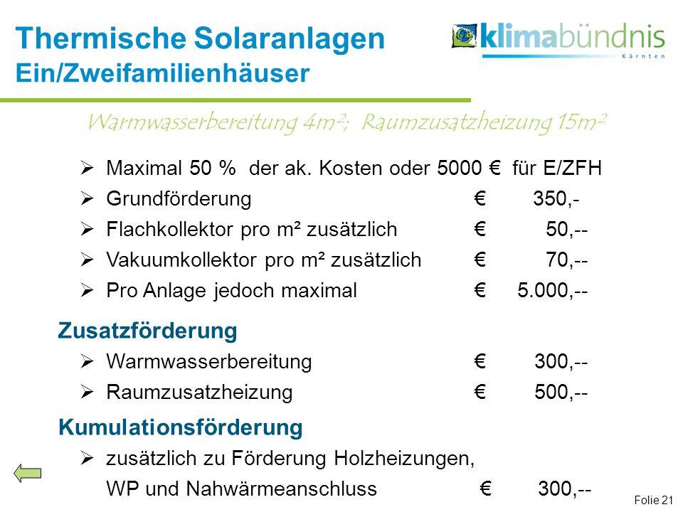 Thermische Solaranlagen Ein/Zweifamilienhäuser