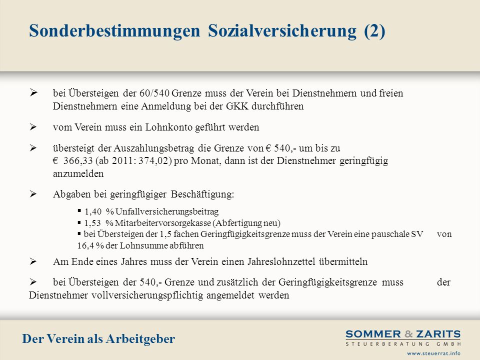 Sonderbestimmungen Sozialversicherung (2)