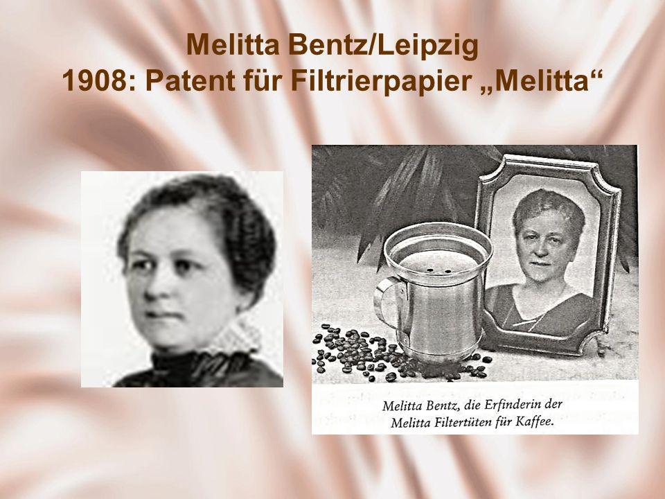 """Melitta Bentz/Leipzig 1908: Patent für Filtrierpapier """"Melitta"""