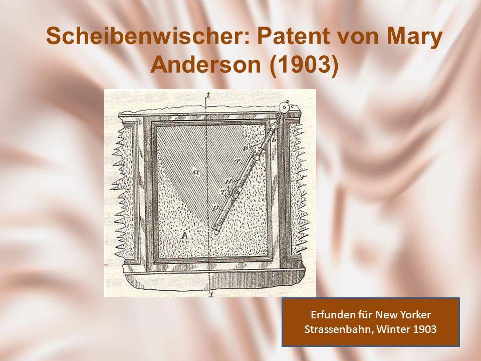Scheibenwischer: Patent von Mary Anderson (1903)