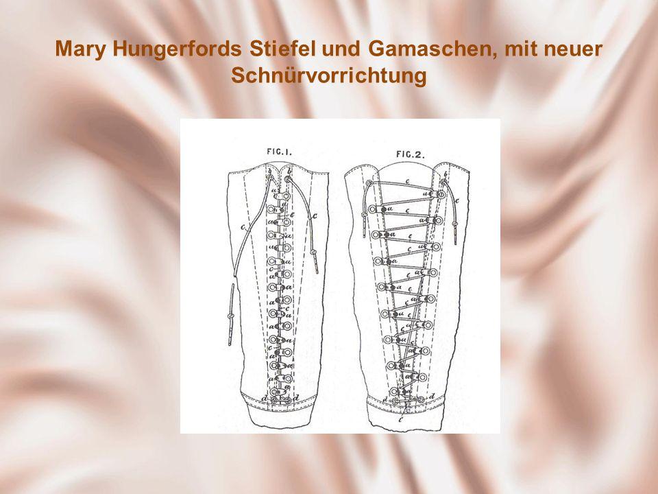 Mary Hungerfords Stiefel und Gamaschen, mit neuer Schnürvorrichtung