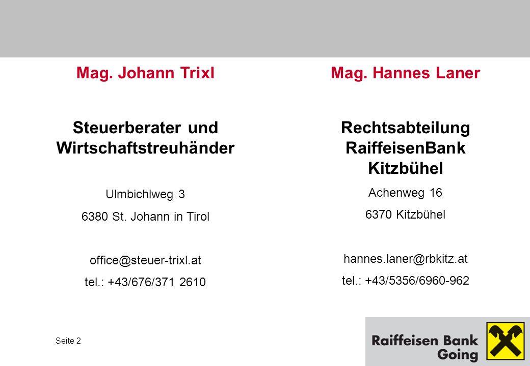 Rechtsabteilung RaiffeisenBank Kitzbühel