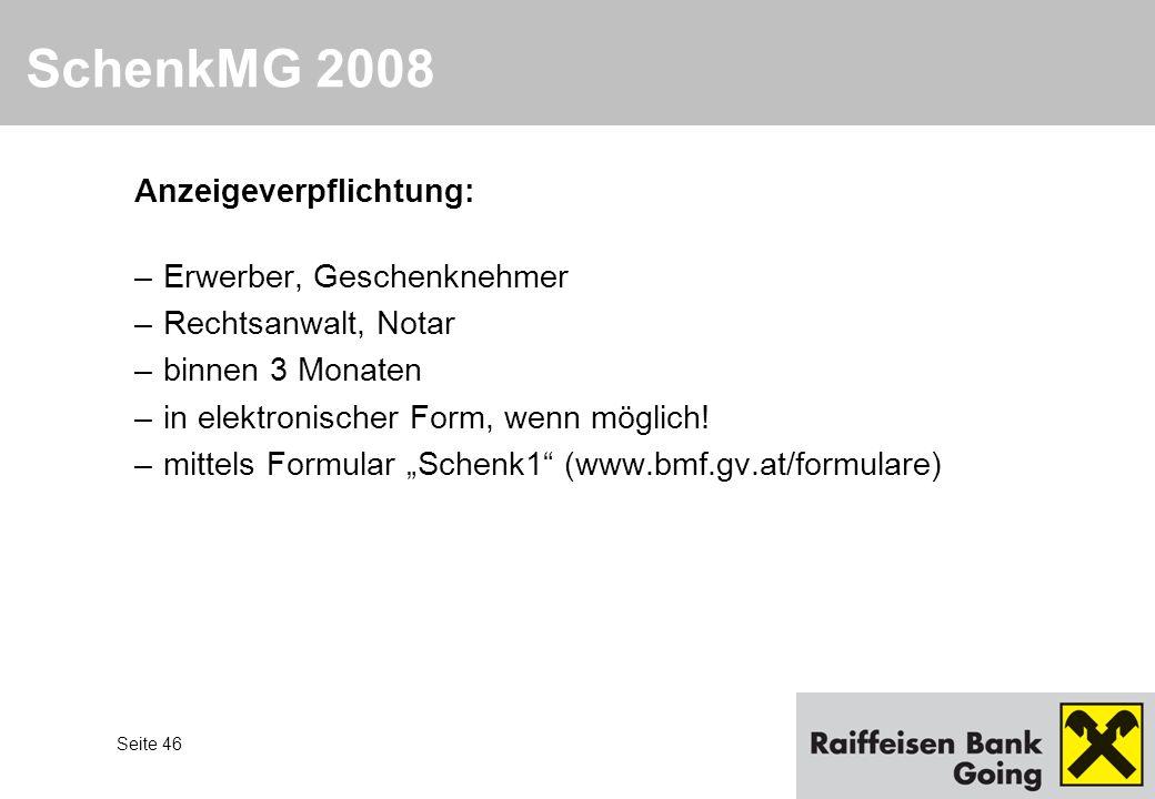SchenkMG 2008 Anzeigeverpflichtung: Erwerber, Geschenknehmer