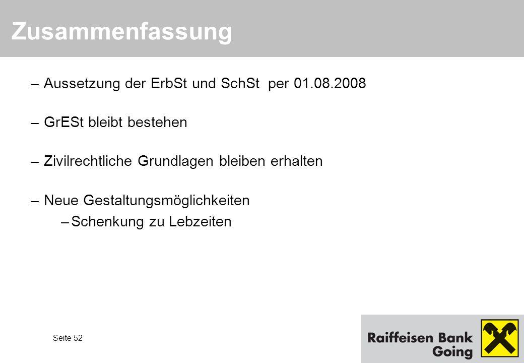 Zusammenfassung Aussetzung der ErbSt und SchSt per 01.08.2008