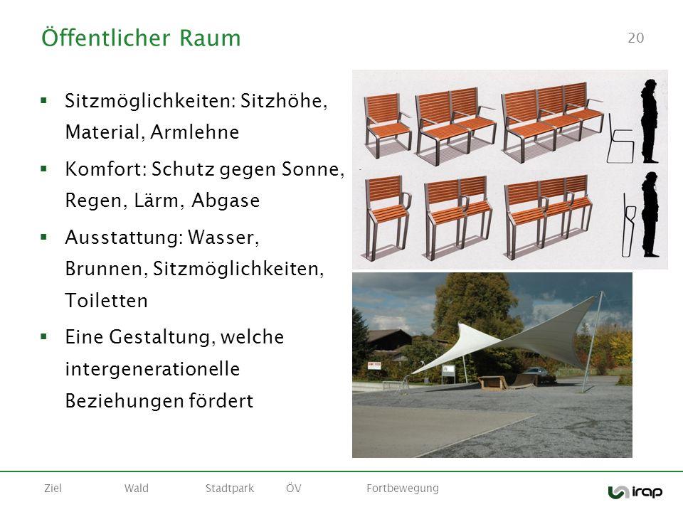 Öffentlicher Raum Sitzmöglichkeiten: Sitzhöhe, Material, Armlehne