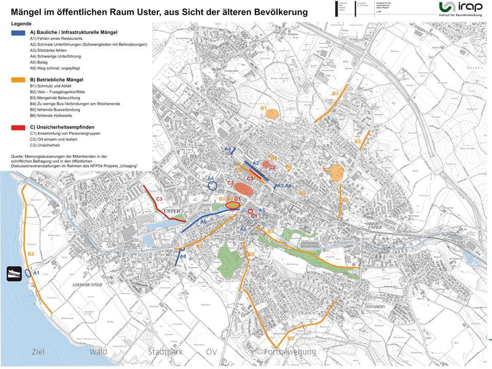 Ziel Wald Stadtpark ÖV Fortbewegung