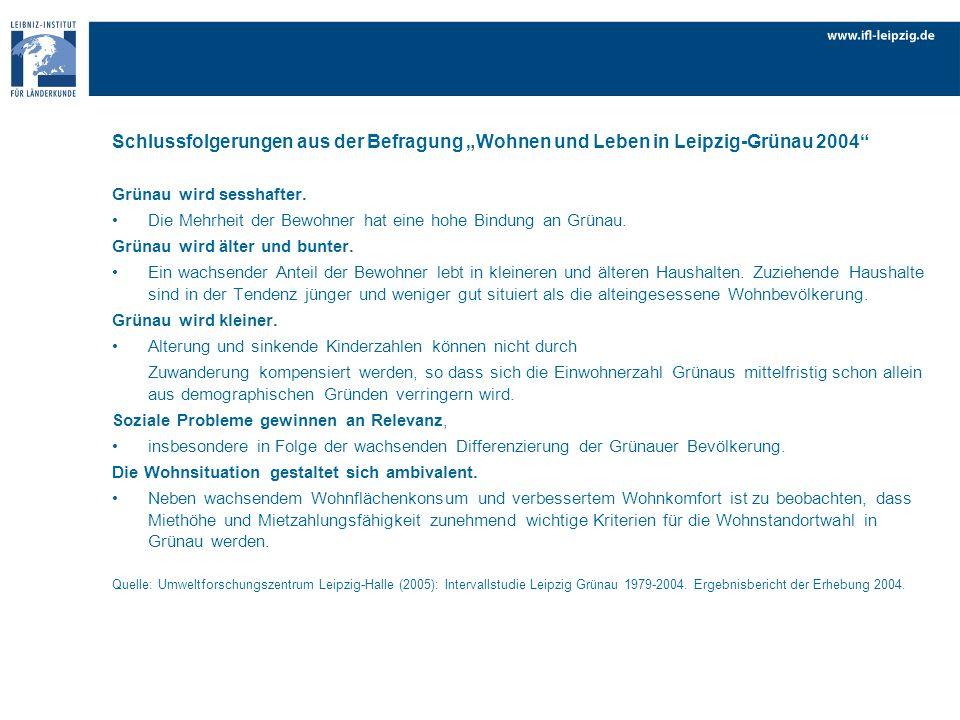 """Schlussfolgerungen aus der Befragung """"Wohnen und Leben in Leipzig-Grünau 2004"""
