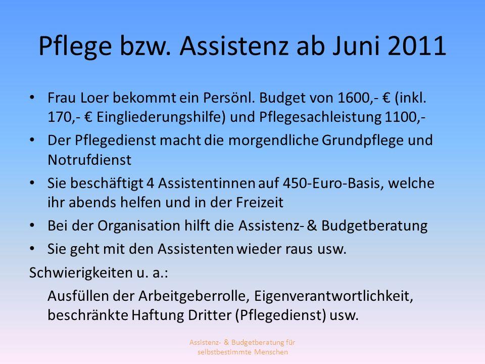 Pflege bzw. Assistenz ab Juni 2011