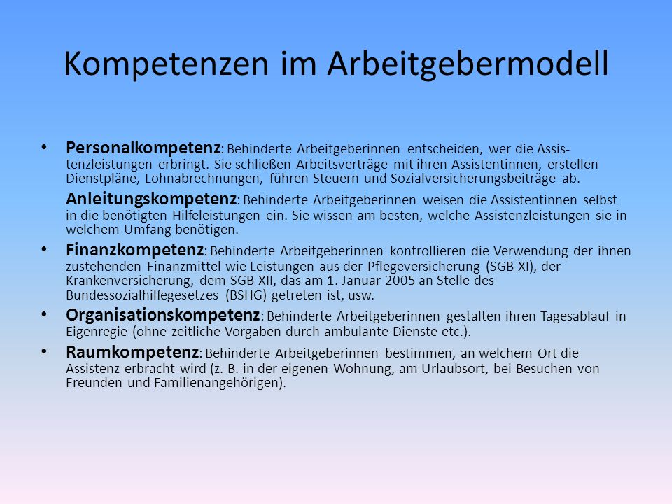 Kompetenzen im Arbeitgebermodell