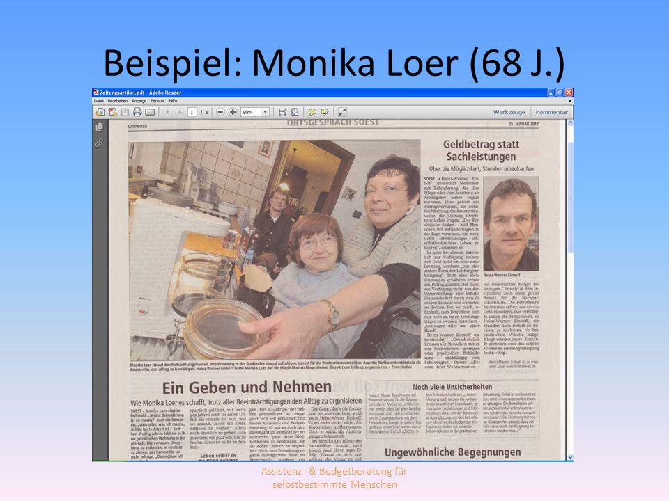 Beispiel: Monika Loer (68 J.)