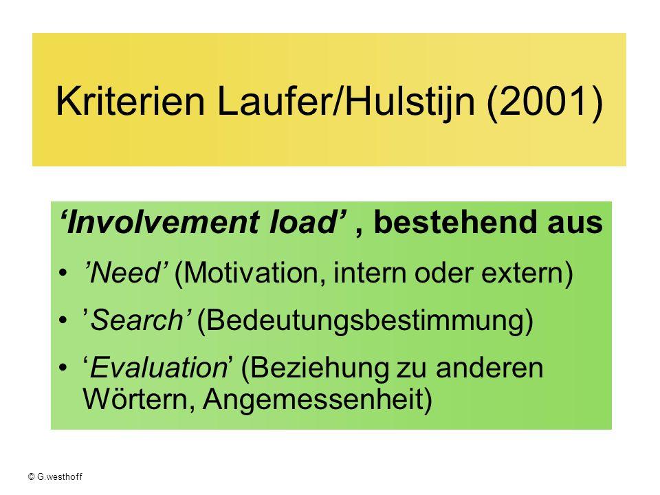 Kriterien Laufer/Hulstijn (2001)