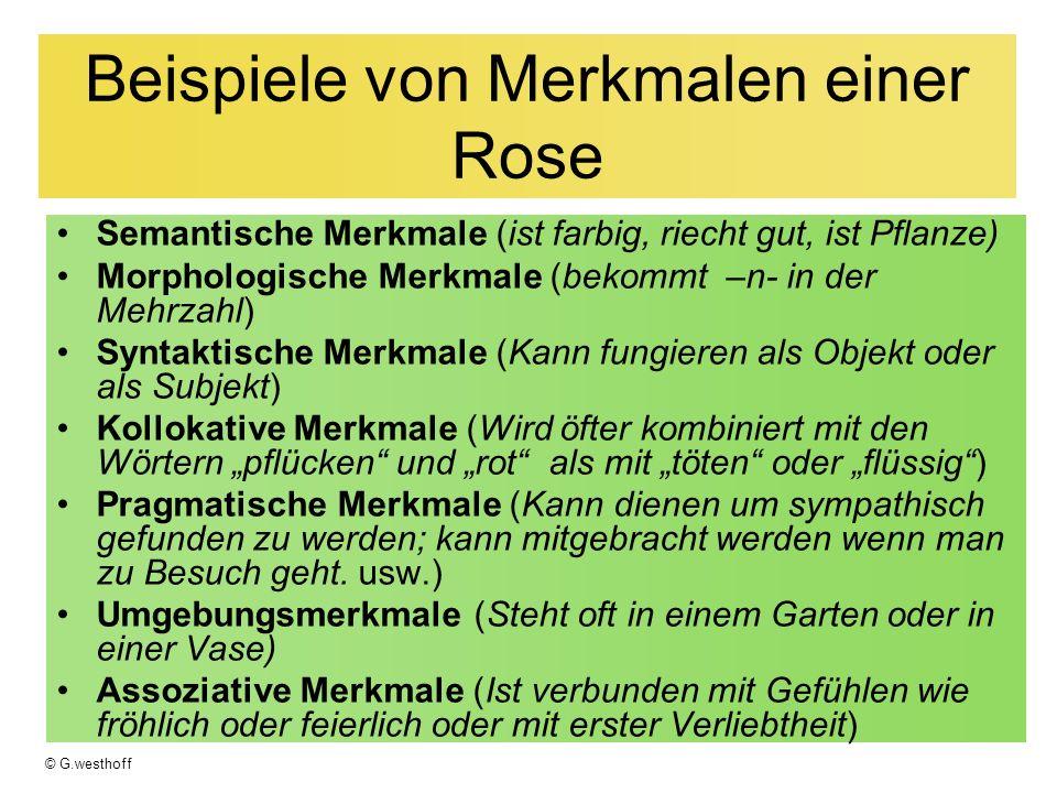 Beispiele von Merkmalen einer Rose