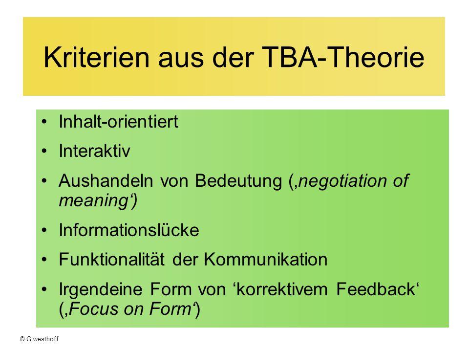 Kriterien aus der TBA-Theorie