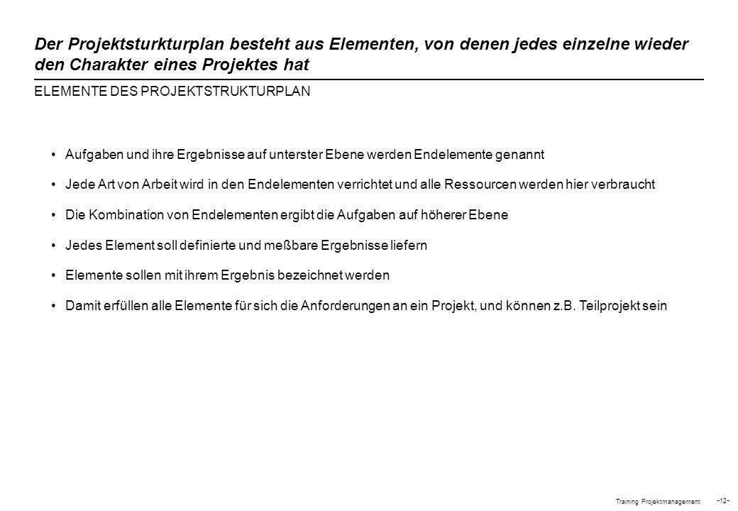 Der Projektsturkturplan besteht aus Elementen, von denen jedes einzelne wieder den Charakter eines Projektes hat