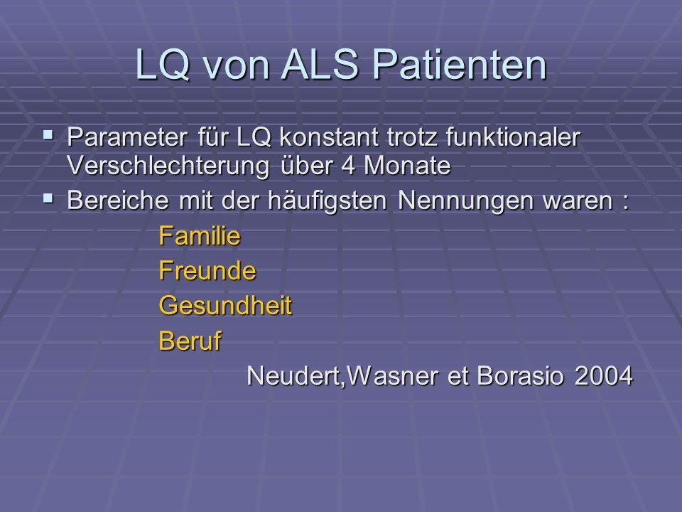 LQ von ALS Patienten Parameter für LQ konstant trotz funktionaler Verschlechterung über 4 Monate. Bereiche mit der häufigsten Nennungen waren :