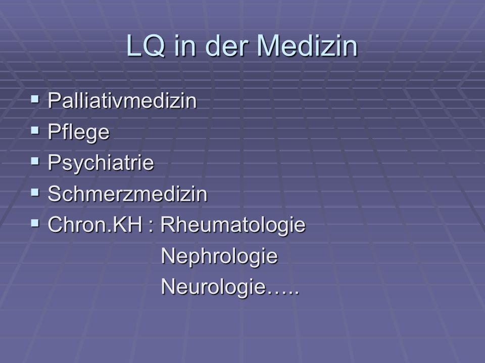 LQ in der Medizin Palliativmedizin Pflege Psychiatrie Schmerzmedizin