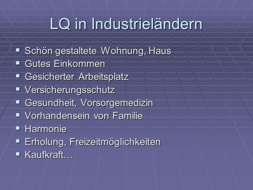 LQ in Industrieländern