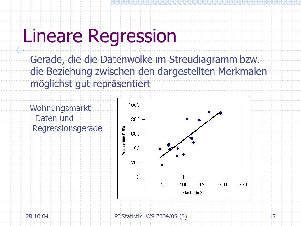 Lineare Regression Gerade, die die Datenwolke im Streudiagramm bzw.