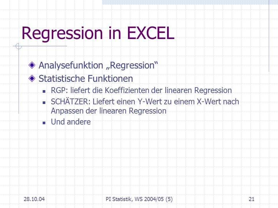 "Regression in EXCEL Analysefunktion ""Regression"