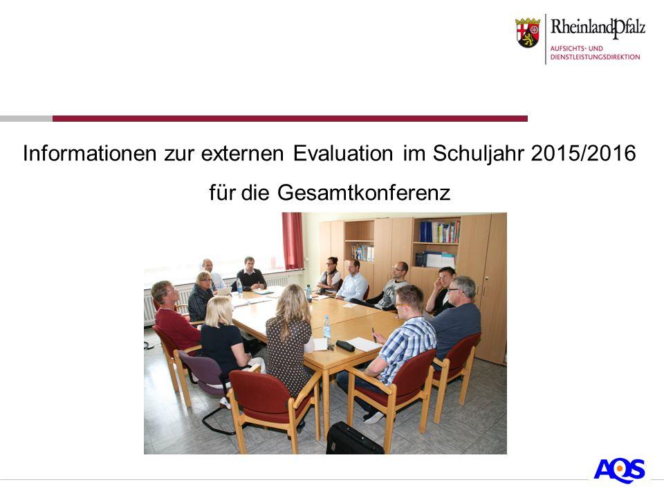 Informationen zur externen Evaluation im Schuljahr 2015/2016