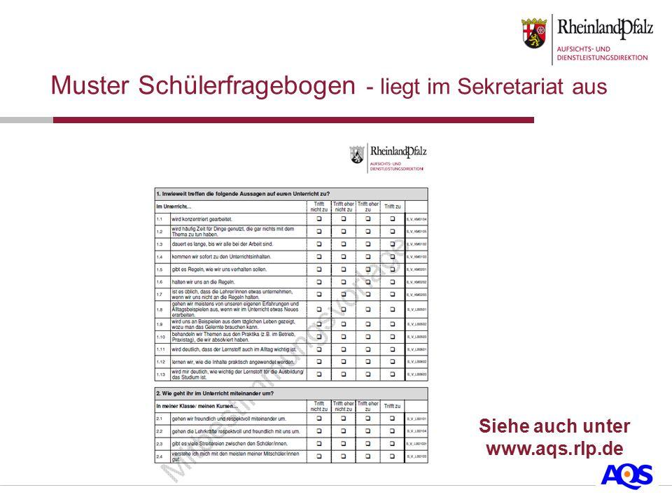 Muster Schülerfragebogen - liegt im Sekretariat aus