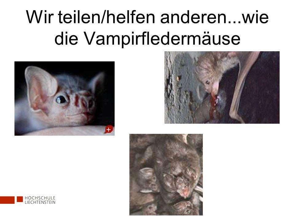 Wir teilen/helfen anderen...wie die Vampirfledermäuse