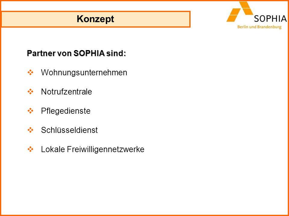 Konzept Partner von SOPHIA sind: Wohnungsunternehmen Notrufzentrale