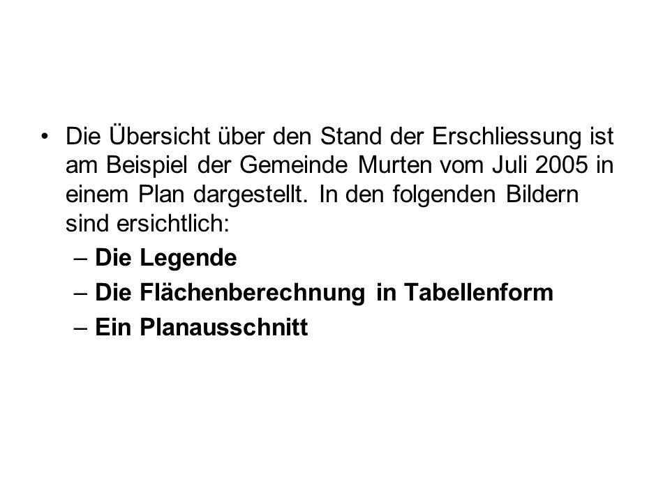 Die Übersicht über den Stand der Erschliessung ist am Beispiel der Gemeinde Murten vom Juli 2005 in einem Plan dargestellt. In den folgenden Bildern sind ersichtlich: