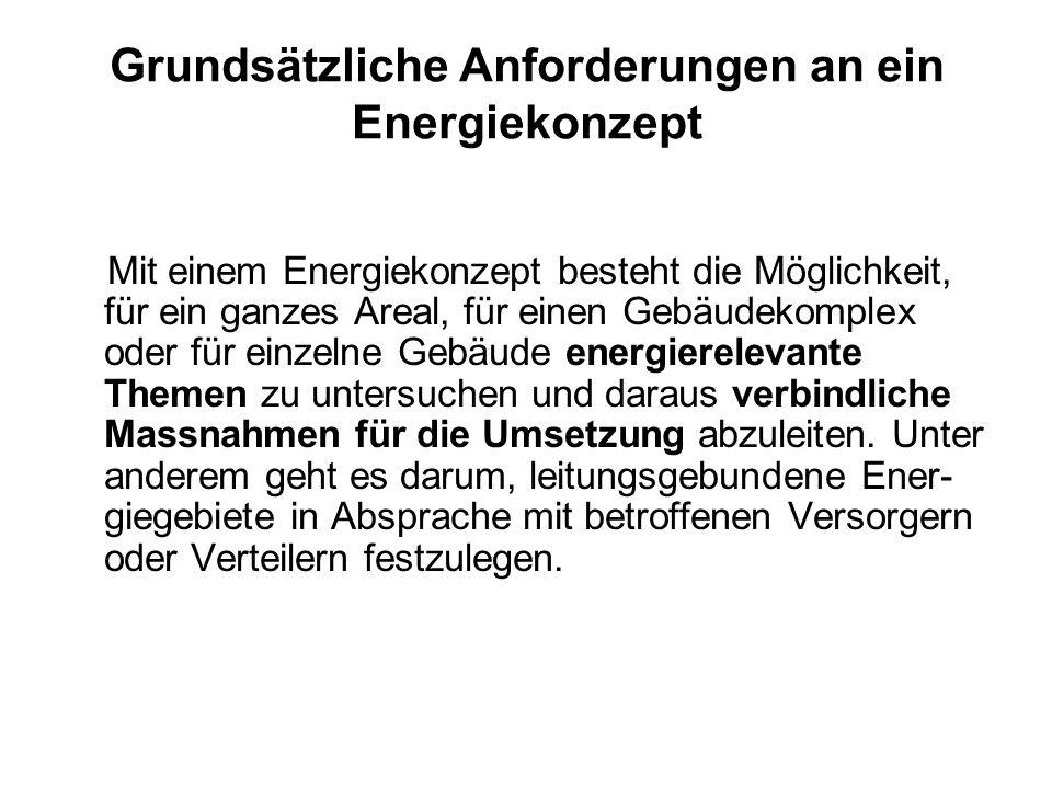 Grundsätzliche Anforderungen an ein Energiekonzept