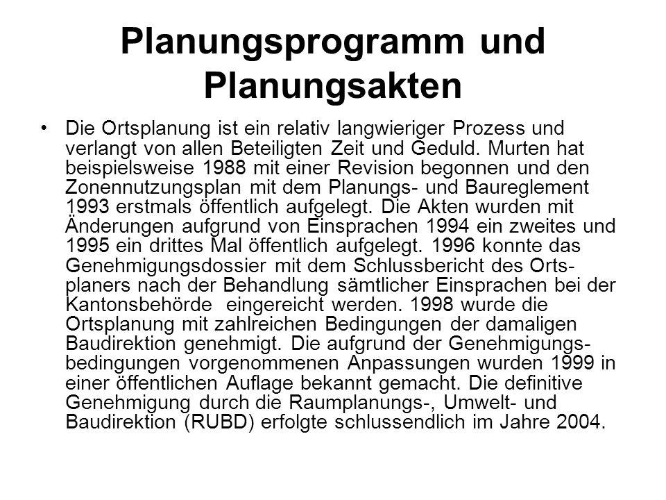 Planungsprogramm und Planungsakten