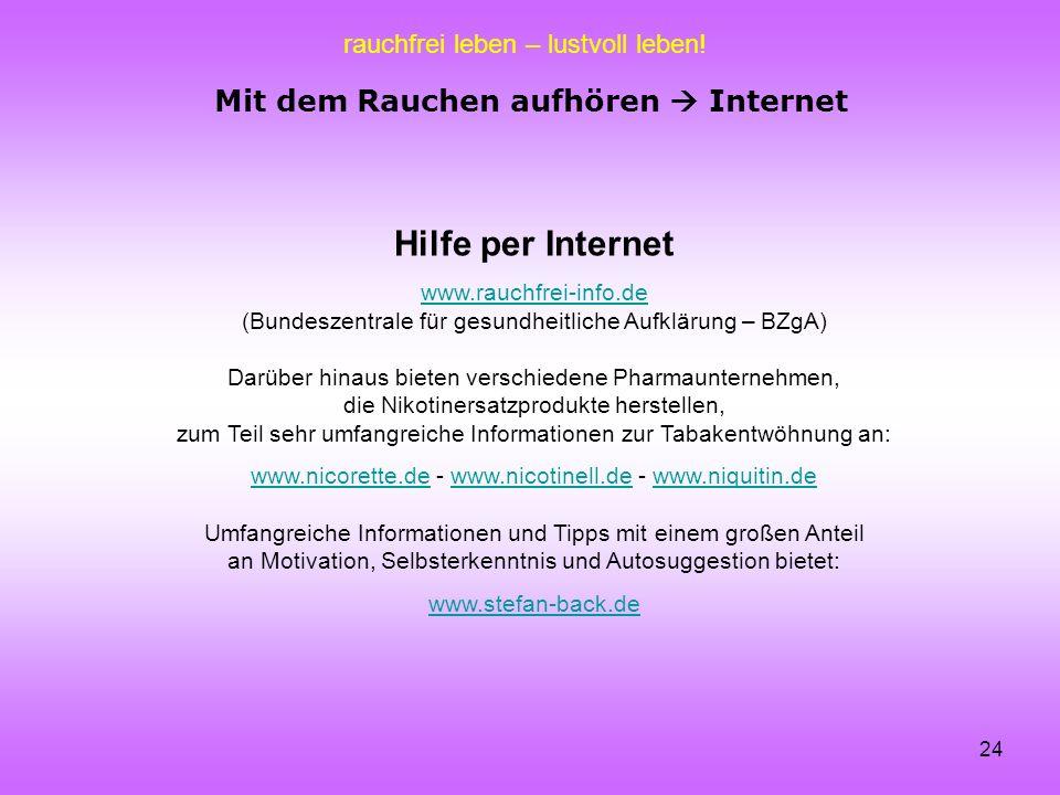 Mit dem Rauchen aufhören  Internet