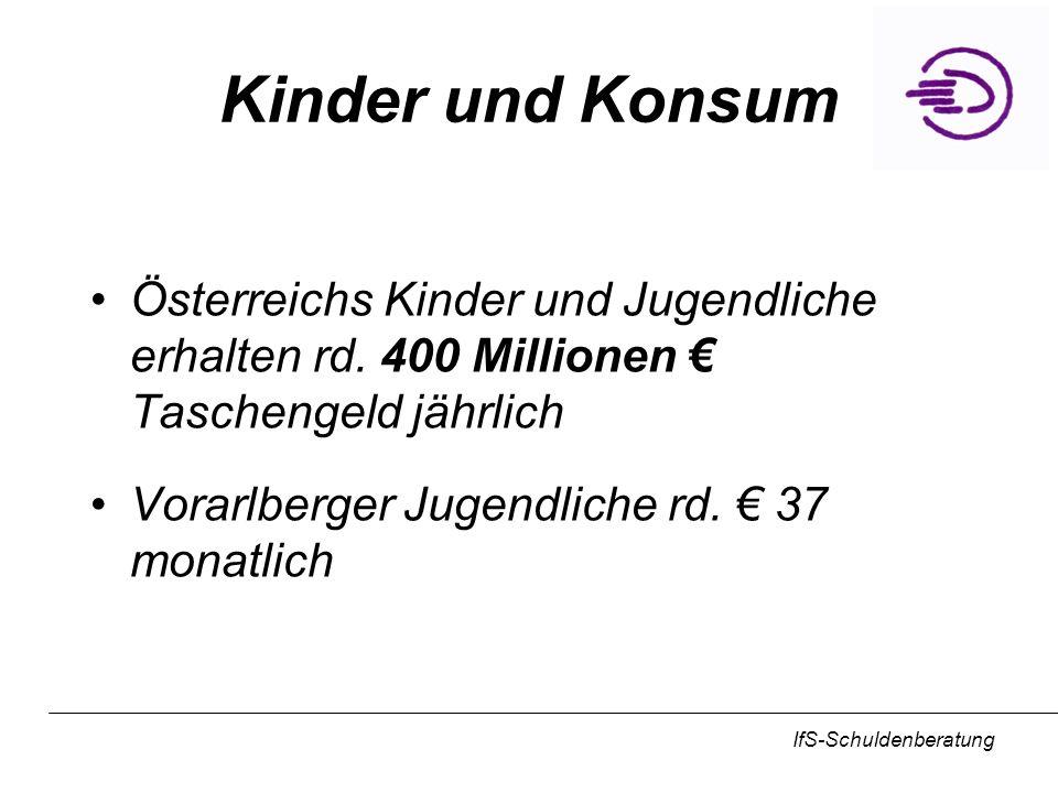 Kinder und Konsum Österreichs Kinder und Jugendliche erhalten rd. 400 Millionen € Taschengeld jährlich.