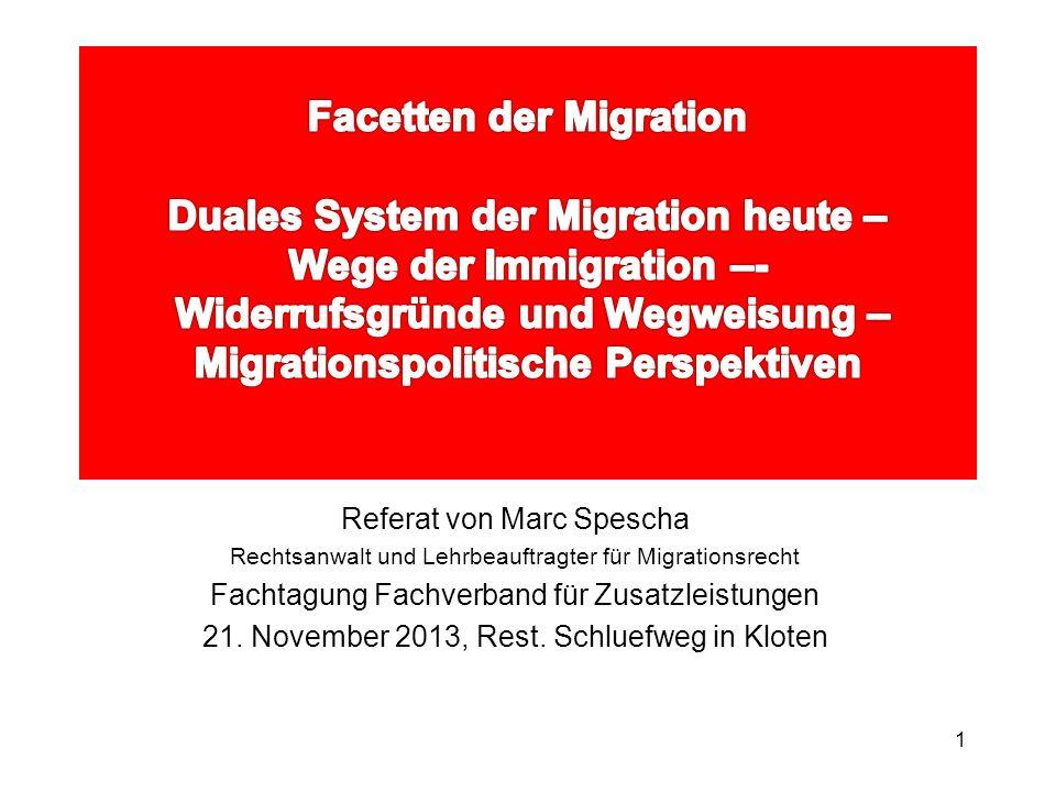 Facetten der Migration Duales System der Migration heute – Wege der Immigration –- Widerrufsgründe und Wegweisung – Migrationspolitische Perspektiven