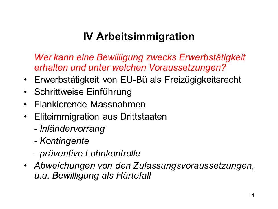 IV Arbeitsimmigration