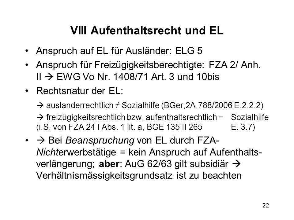 VIII Aufenthaltsrecht und EL