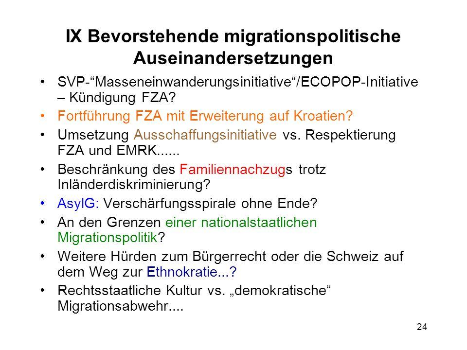 IX Bevorstehende migrationspolitische Auseinandersetzungen