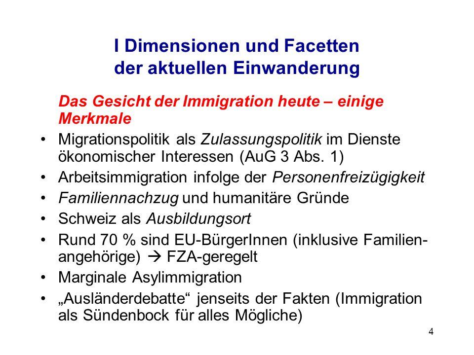 I Dimensionen und Facetten der aktuellen Einwanderung