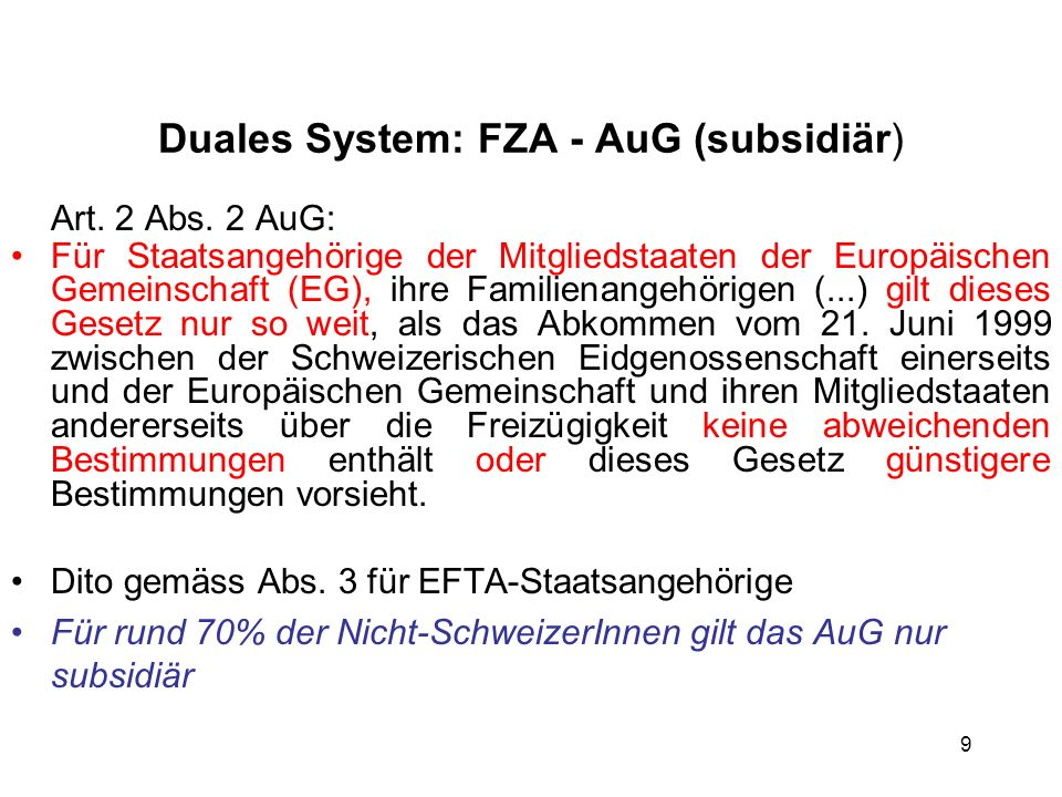 Duales System: FZA - AuG (subsidiär)