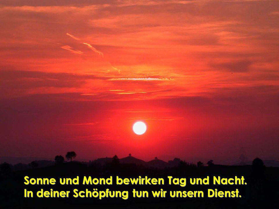 Sonne und Mond bewirken Tag und Nacht.
