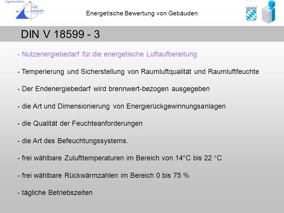 DIN V 18599 - 3 - Nutzenergiebedarf für die energetische Luftaufbereitung.