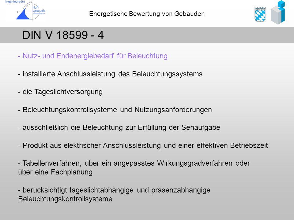 DIN V 18599 - 4 - Nutz- und Endenergiebedarf für Beleuchtung