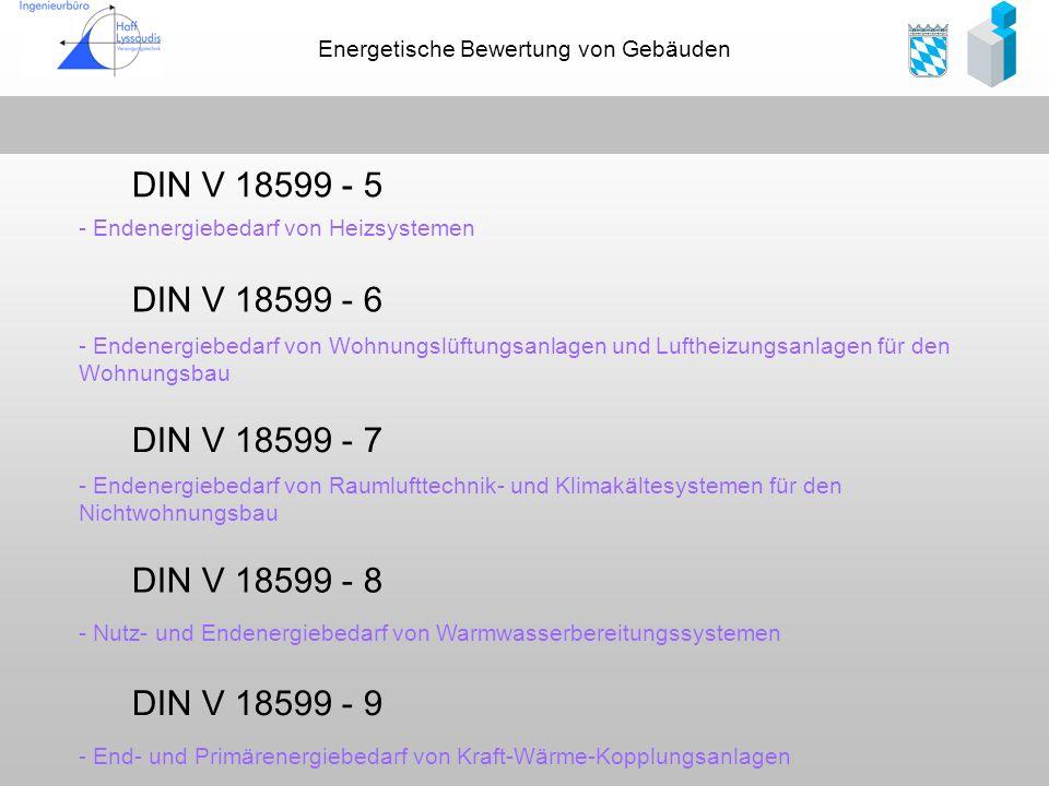 DIN V 18599 - 5 DIN V 18599 - 6 DIN V 18599 - 7 DIN V 18599 - 8