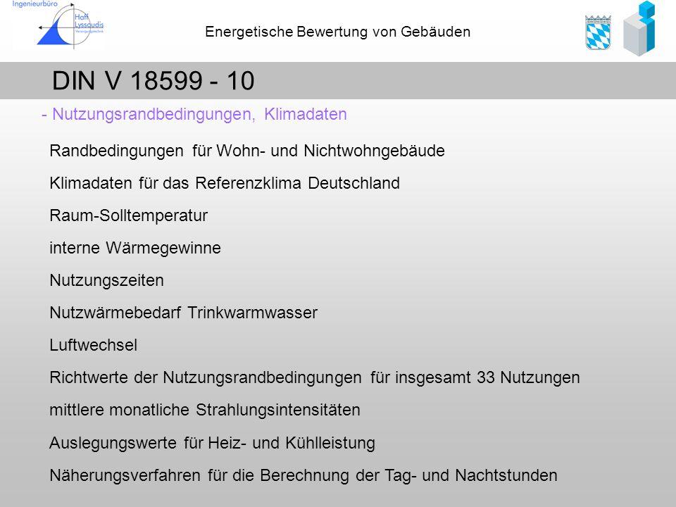DIN V 18599 - 10 - Nutzungsrandbedingungen, Klimadaten