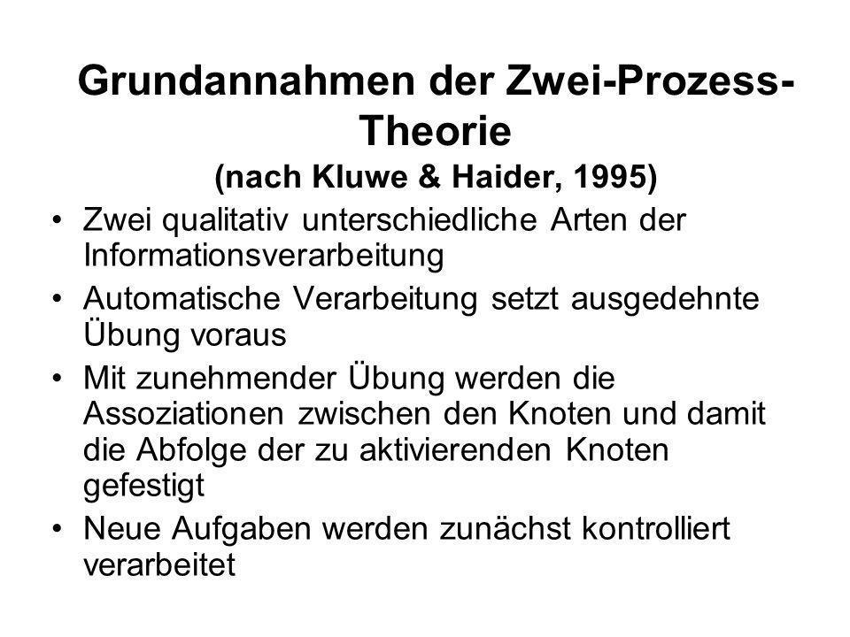 Grundannahmen der Zwei-Prozess-Theorie (nach Kluwe & Haider, 1995)