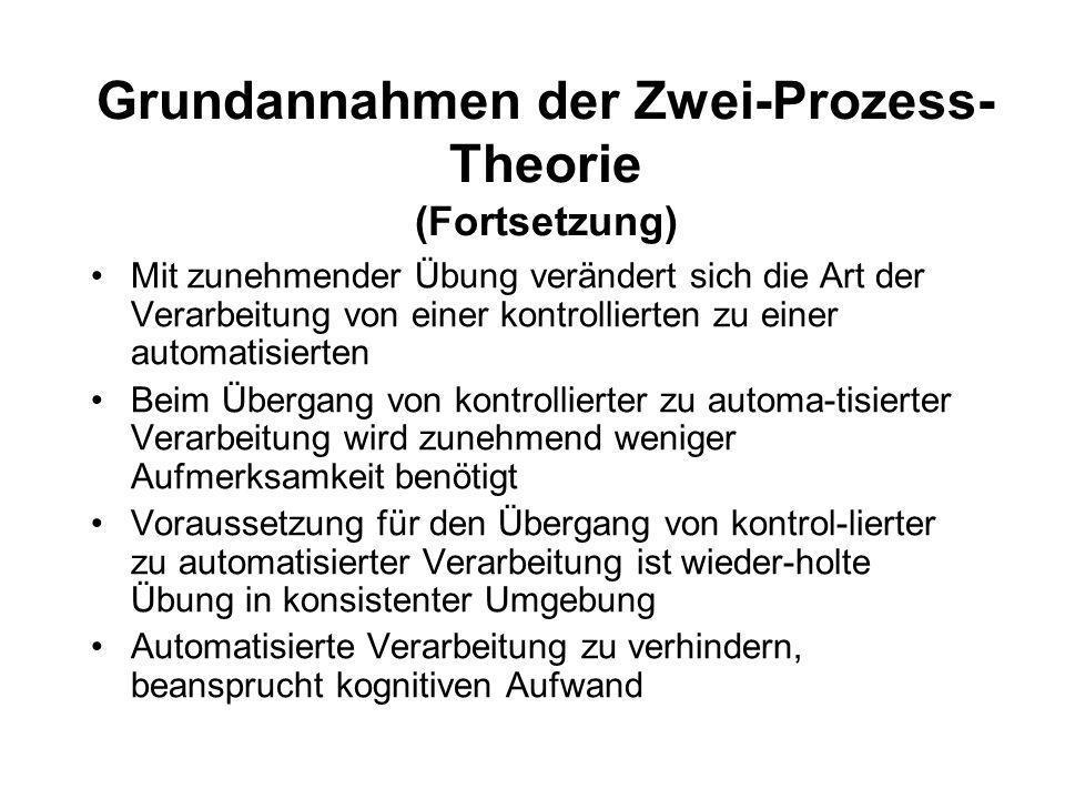 Grundannahmen der Zwei-Prozess-Theorie (Fortsetzung)