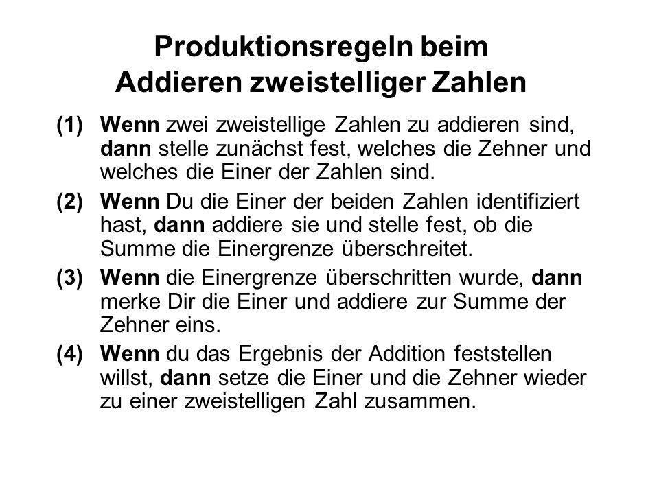 Produktionsregeln beim Addieren zweistelliger Zahlen