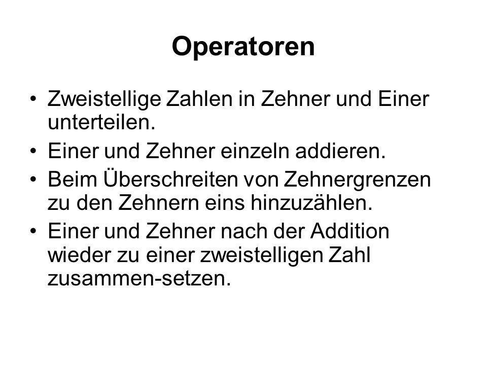 Operatoren Zweistellige Zahlen in Zehner und Einer unterteilen.