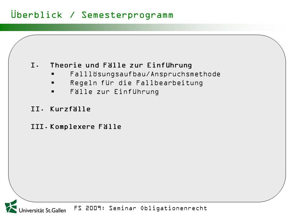 Überblick / Semesterprogramm