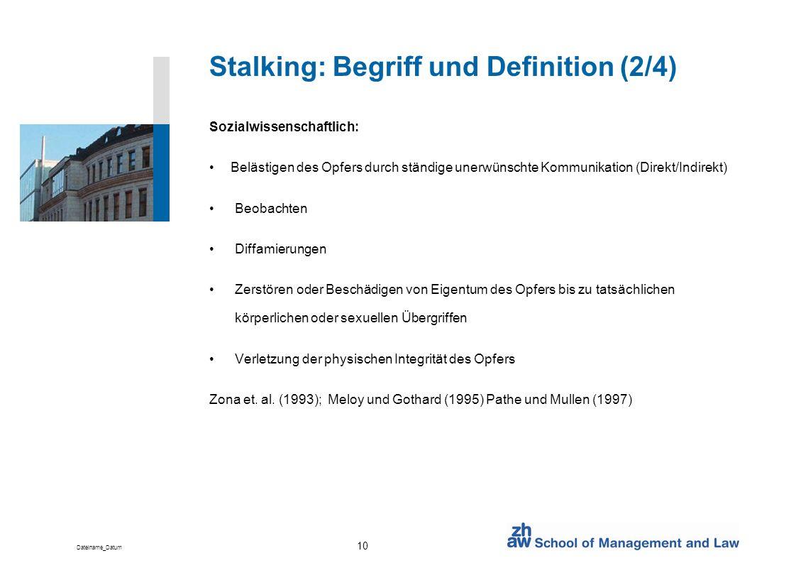 Stalking: Begriff und Definition (2/4)