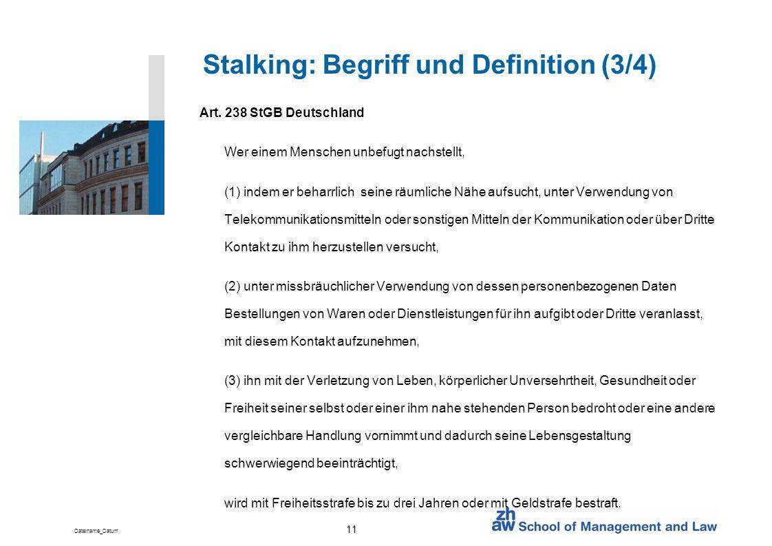 Stalking: Begriff und Definition (3/4)